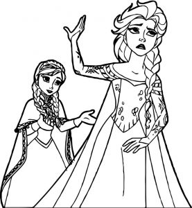 Anna elsa dont speak coloring page