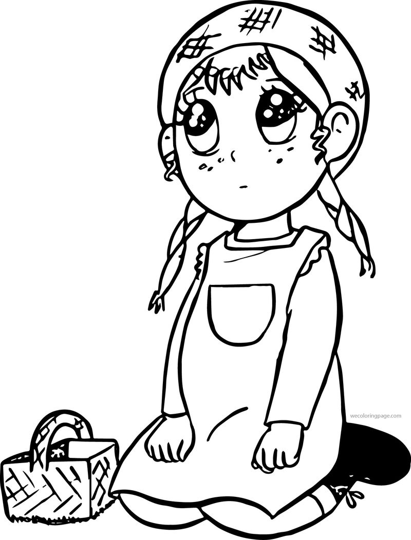 Anne Chan Of Green Gables Cartoon Coloring Page