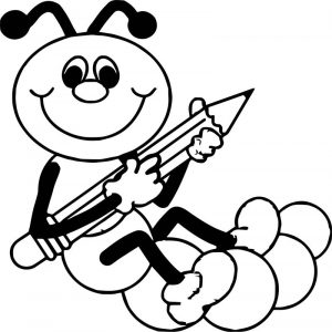 Ant and pen coloring page