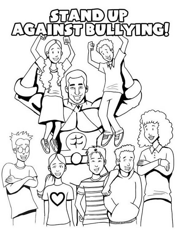 Anti Bullying Coloring Sheets With A Message Stand Up Against Bullying Together