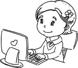 Any child girl use the computer coloring page