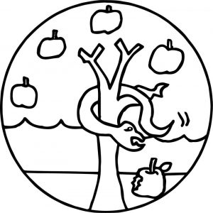 Apple tree and snake coloring page