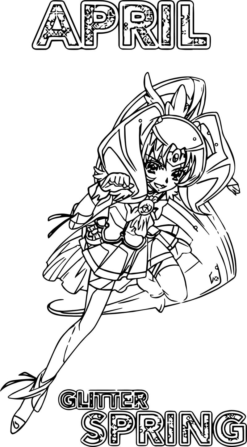 April Glitter Force Spring Coloring Page