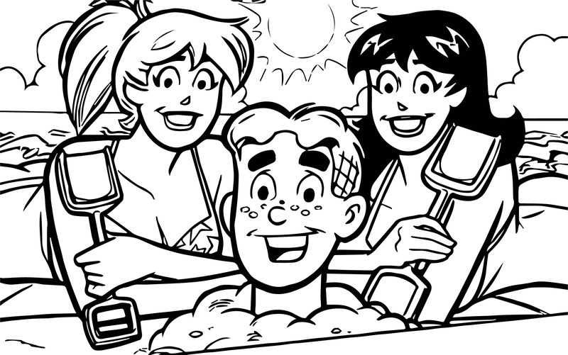 Archie Comics And Girls Beach Game Coloring Page