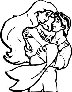 Ariel mermaid and boyfriend coloring page