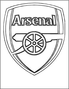 Arsenal soccer club logo coloring black and white picture