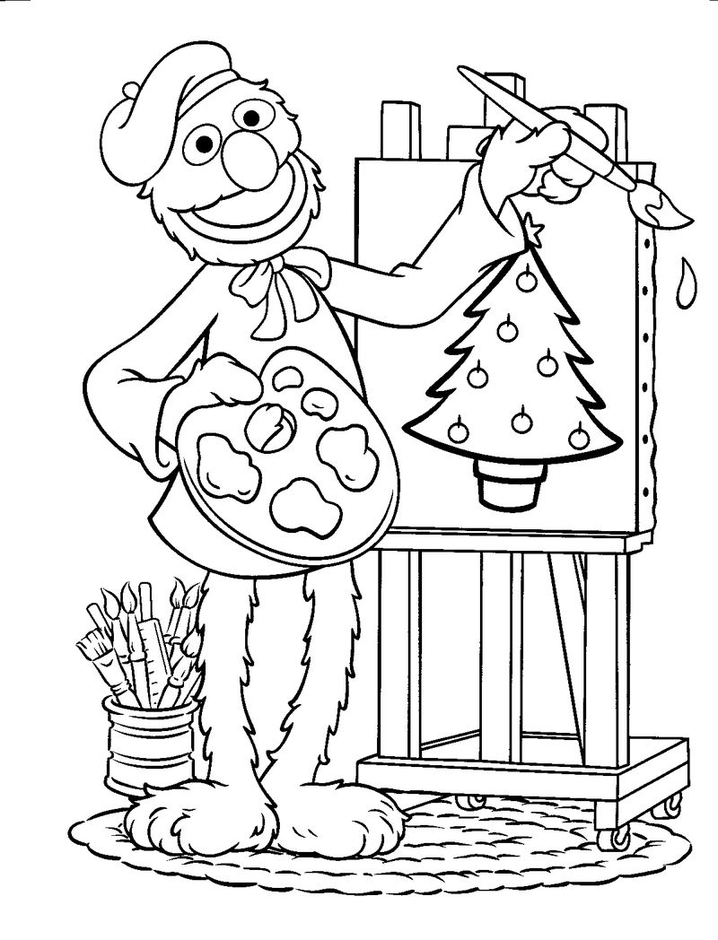 Artist Grover Sesame Street Coloring Pages