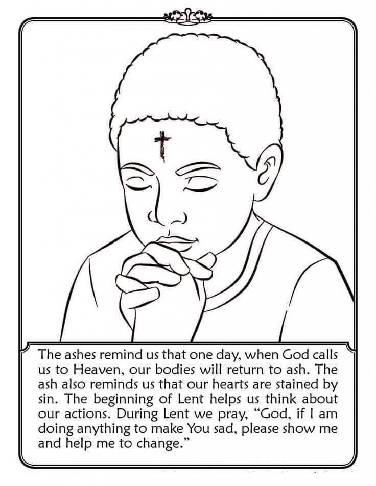 Ash Wednesday Coloring Info Page