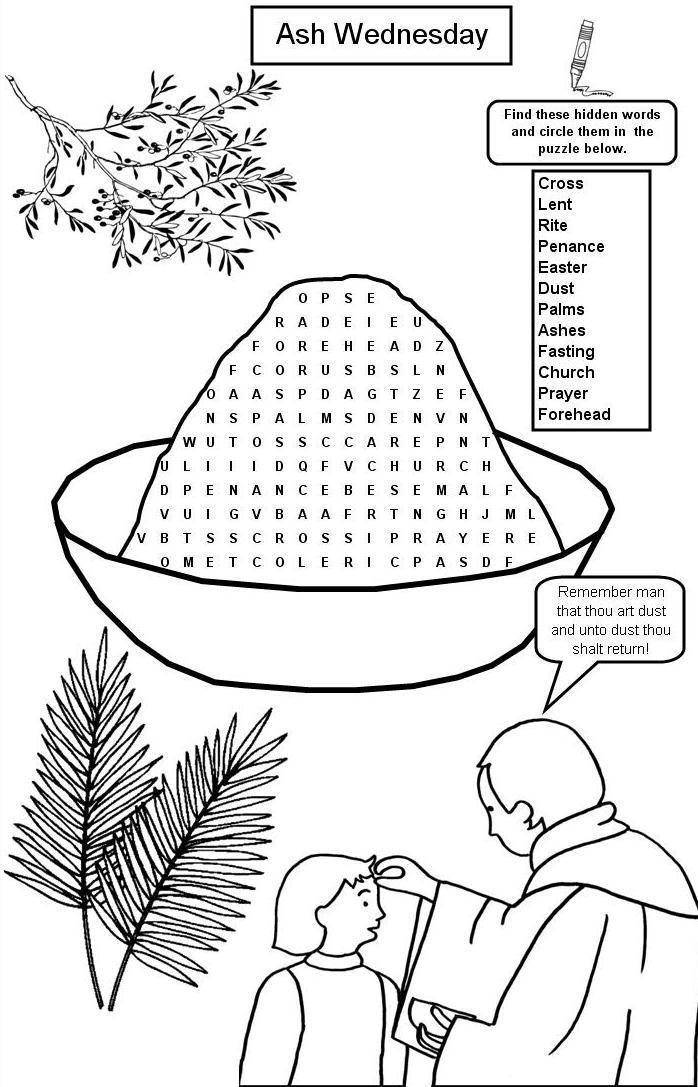Ash Wednesday Word Search
