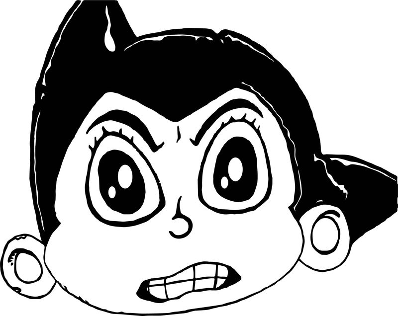 Astro Boy Angry Face Coloring Page