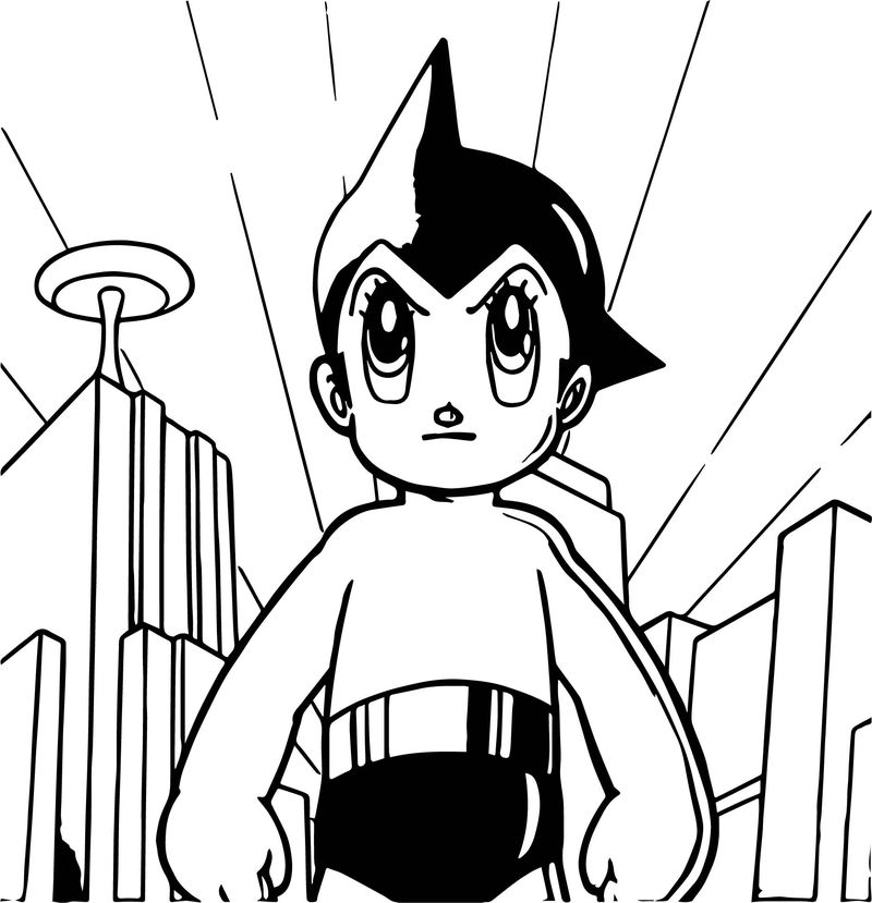 Astro Boy Angry In City Coloring Page