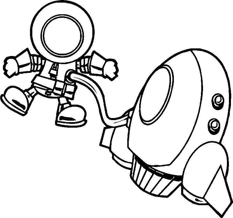Astronaut And Vehicle In Space Fly Coloring Page