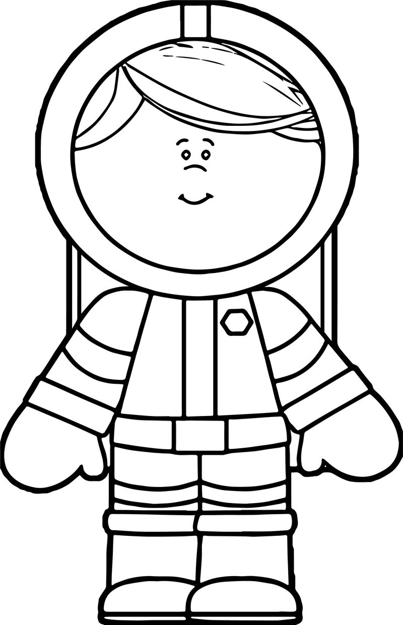 Astronaut Cute Girl Coloring Page - Coloring Sheets