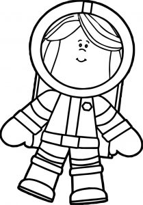 Astronaut just free girl coloring page