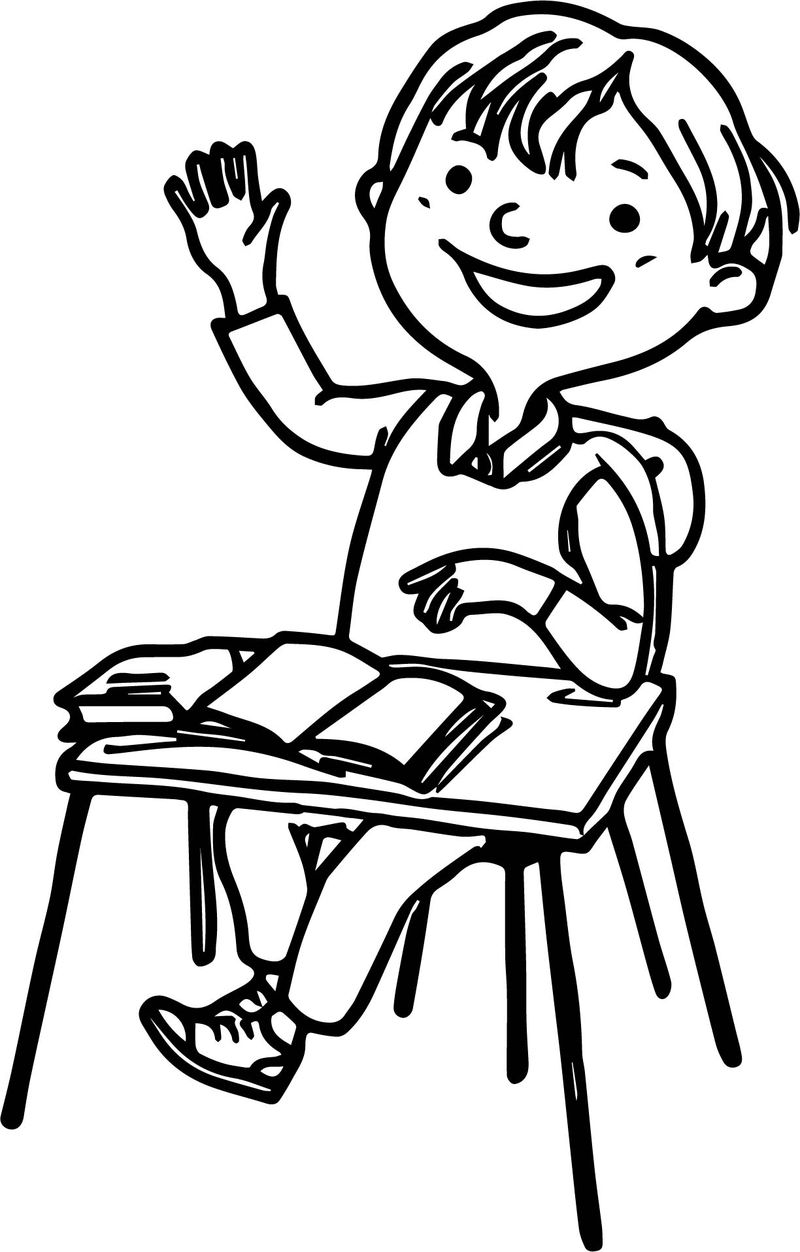 At The School Girl Hand Up Coloring Page