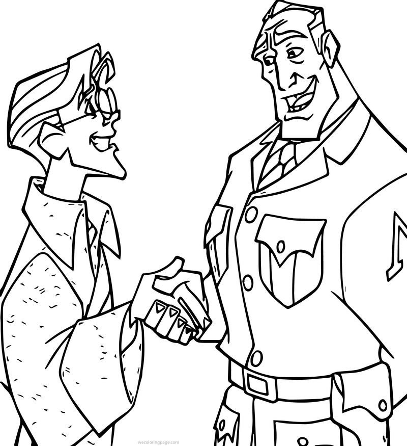 Atlantis The Lost Empire James Thatch And Commender Rourke Congratulation Coloring Page