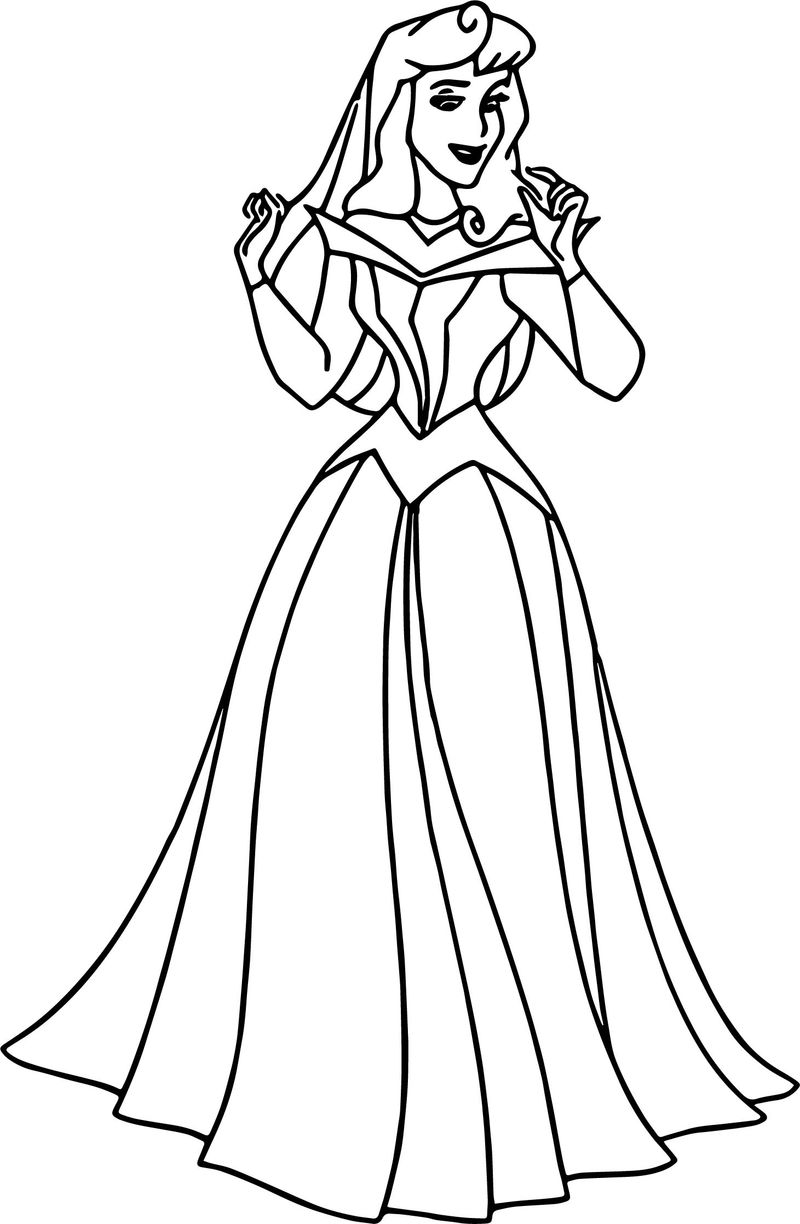 Aurora Dress Cartoon Girl Coloring Page