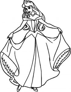 Aurora pretty girl cartoon coloring page