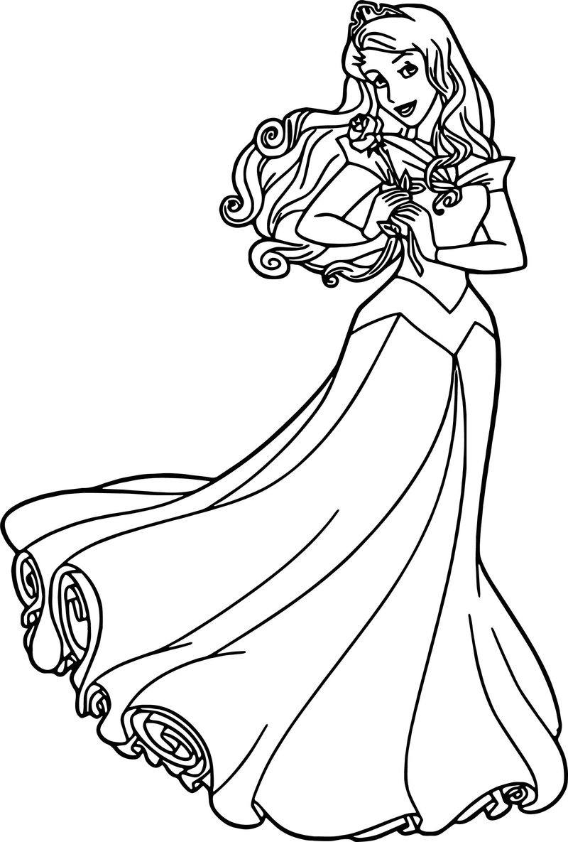 Aurora Rose Cartoon Coloring Page