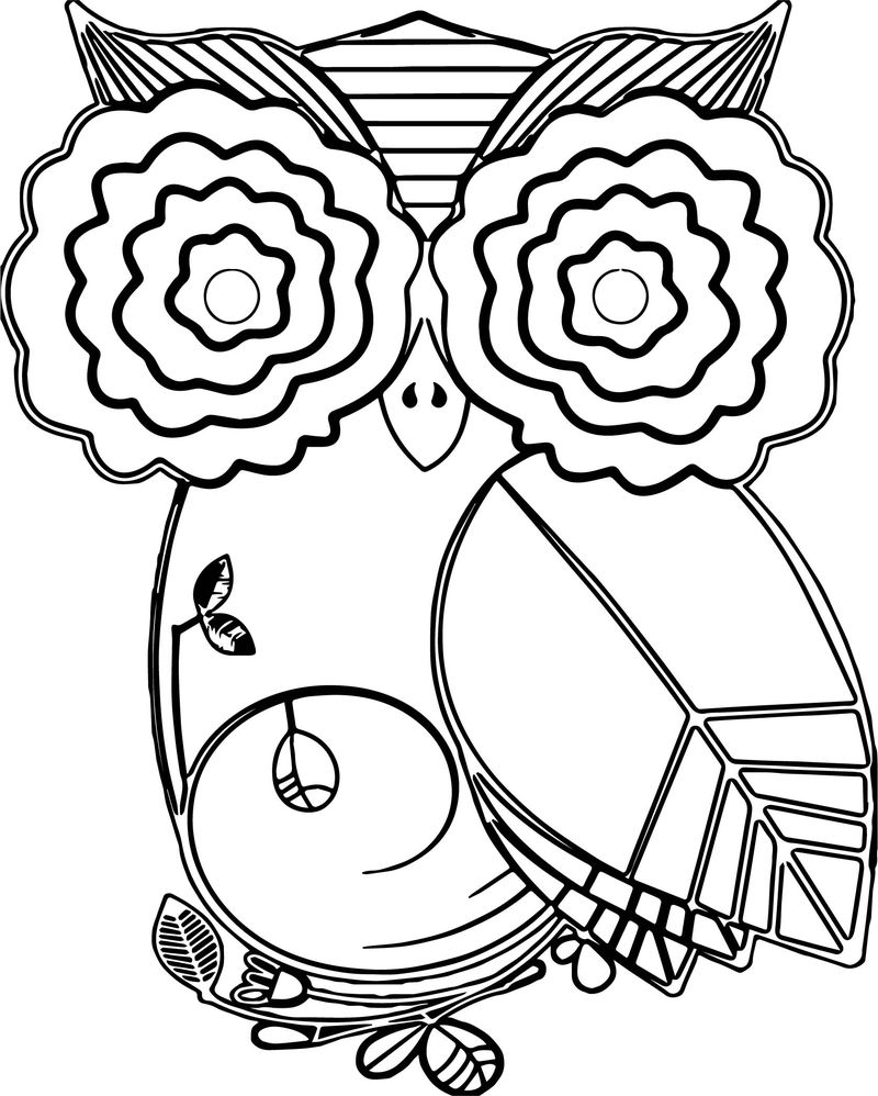 Autumn Owl Leaf Coloring Page