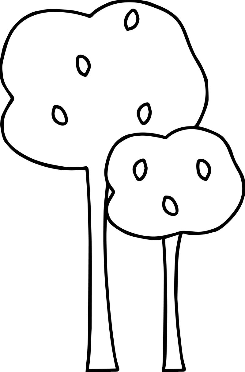 Autumn Small And Tall Tree Coloring Page