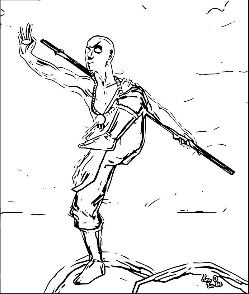 Avatar Aang Sympathized X Avatar Aang Coloring Page