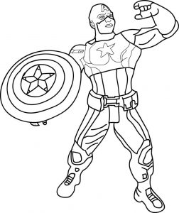 Avenger kids cartoon captain america toy coloring page