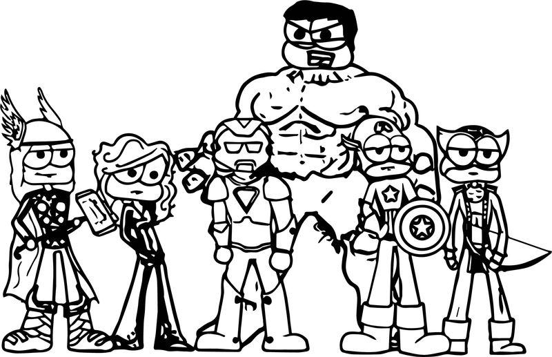 Avengers Chibi Characters Coloring Page