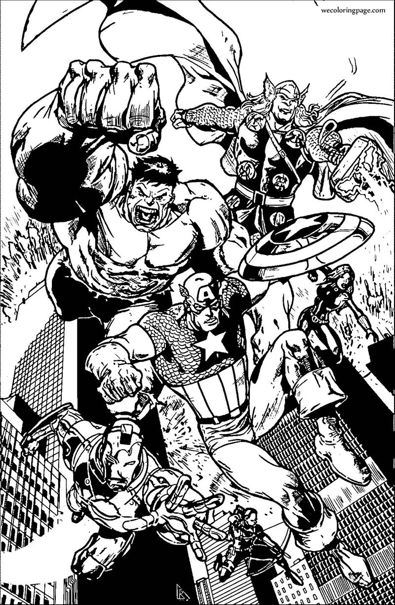 Avengers City Coloring Page