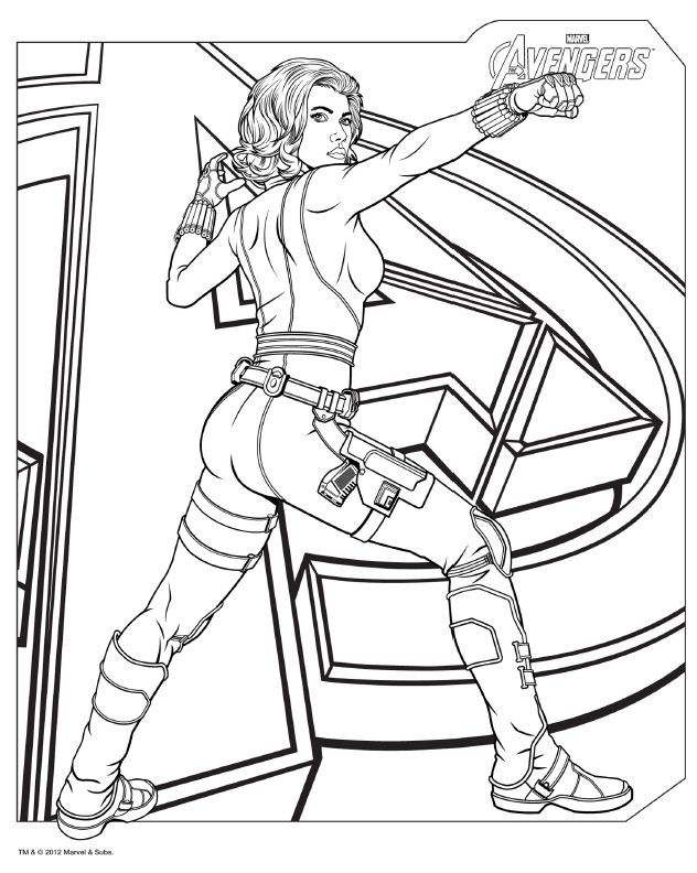 Avengers Coloring Pages Black Widow