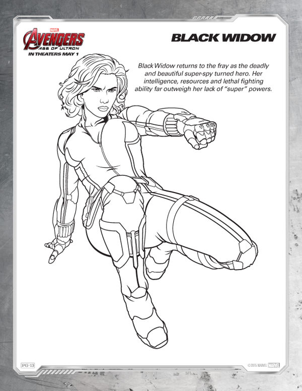 Avengers Coloring Pages Free Black Widow