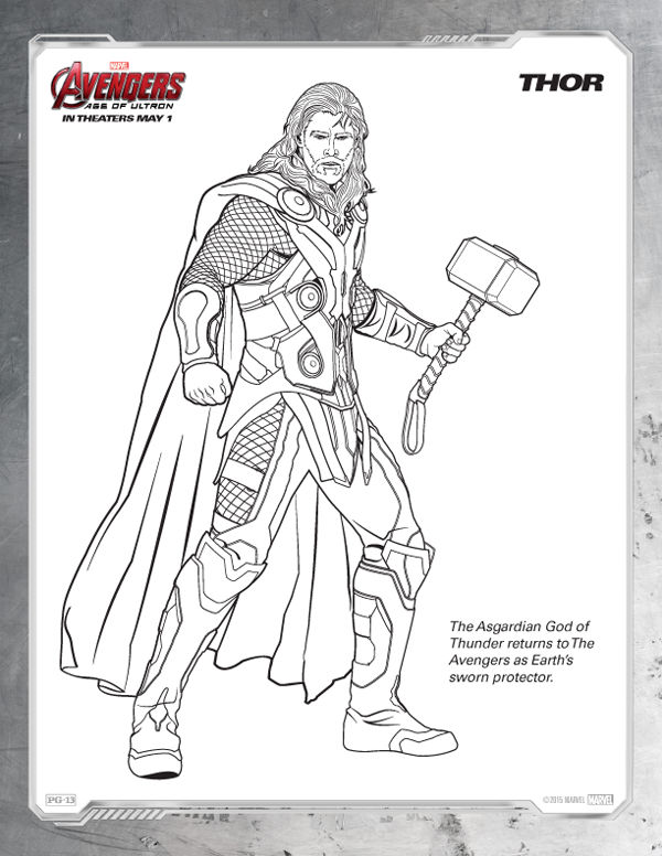 Avengers Coloring Pages Free Thor Coloring Sheets