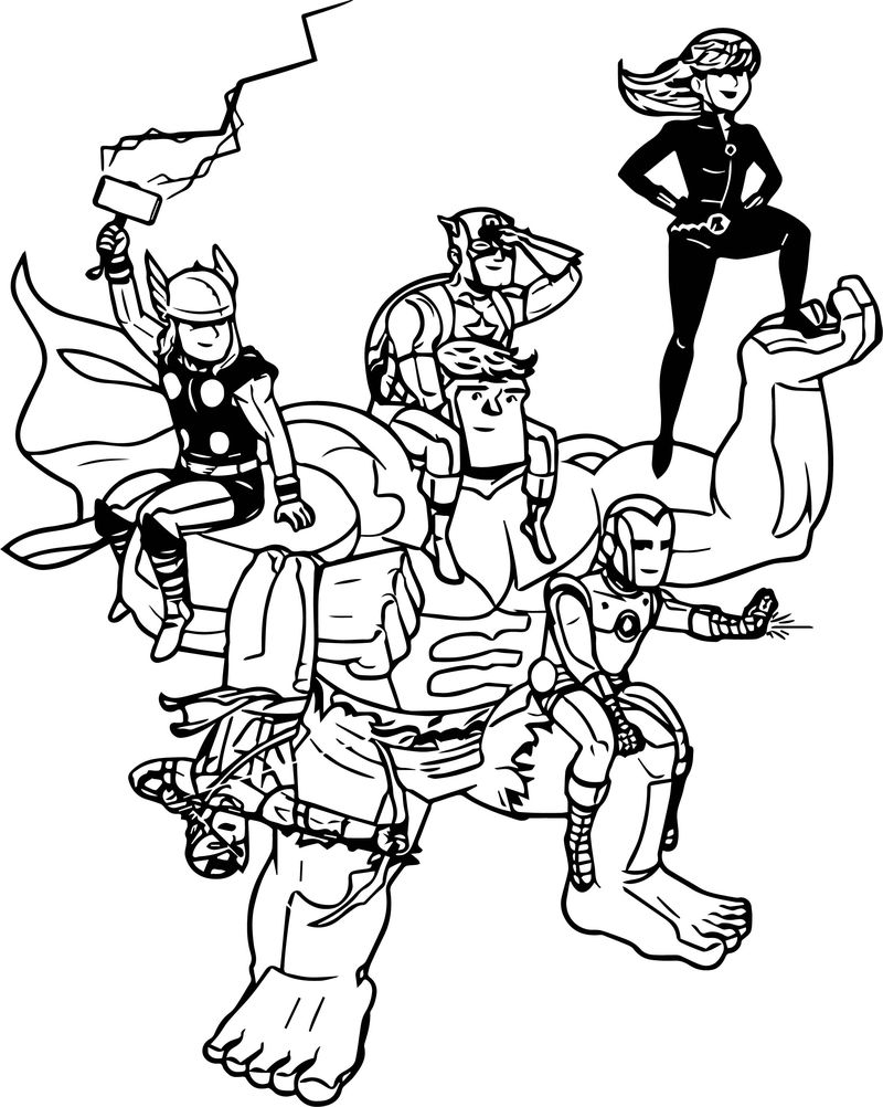 Avengers Happy Characters Coloring Page