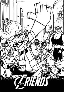 Avengers justice friends coloring page