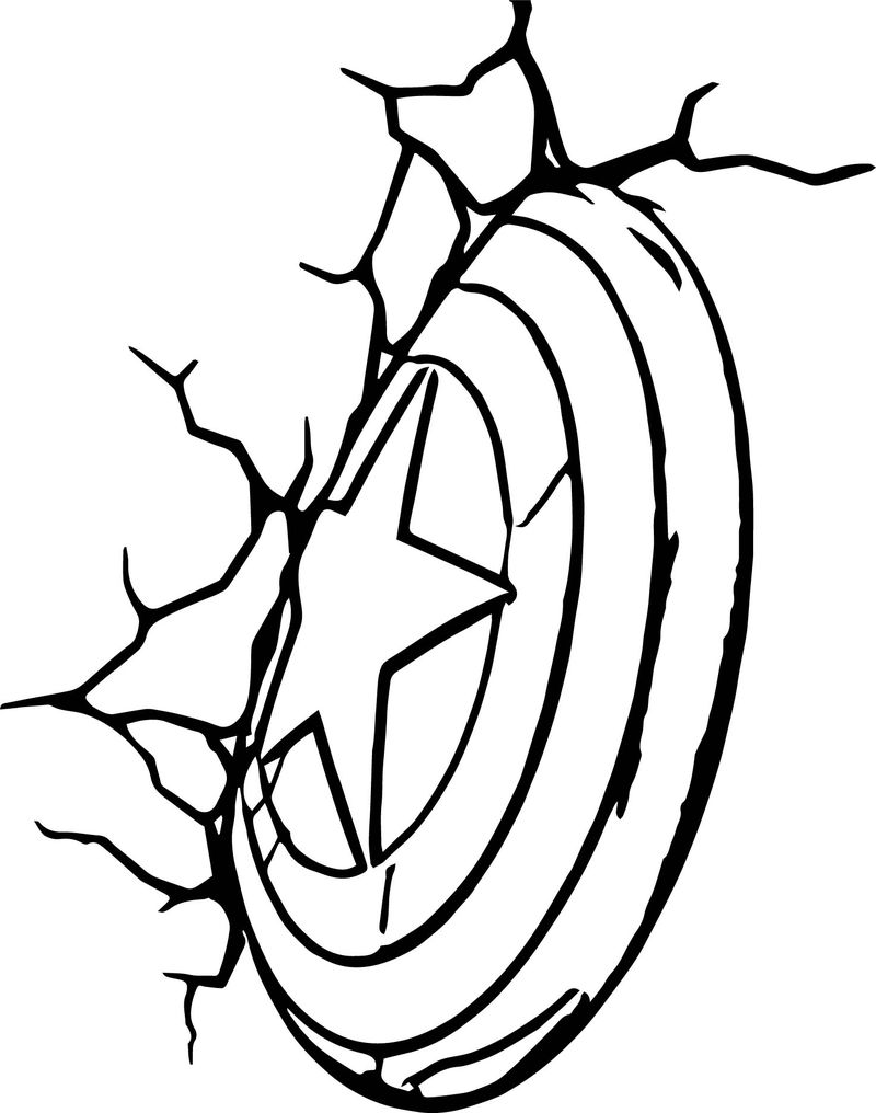 Avengers Shield Broken Wall Coloring Page
