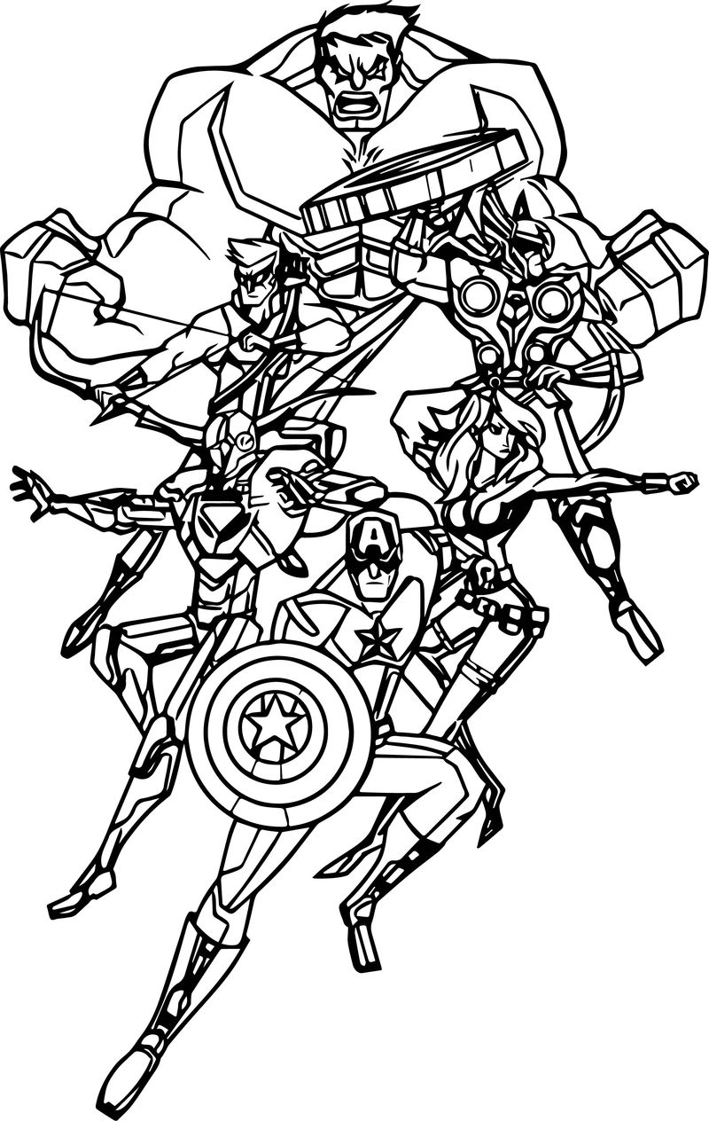 Avengers Shock Team Coloring Page