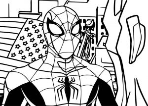 Avengers spiderman coloring page