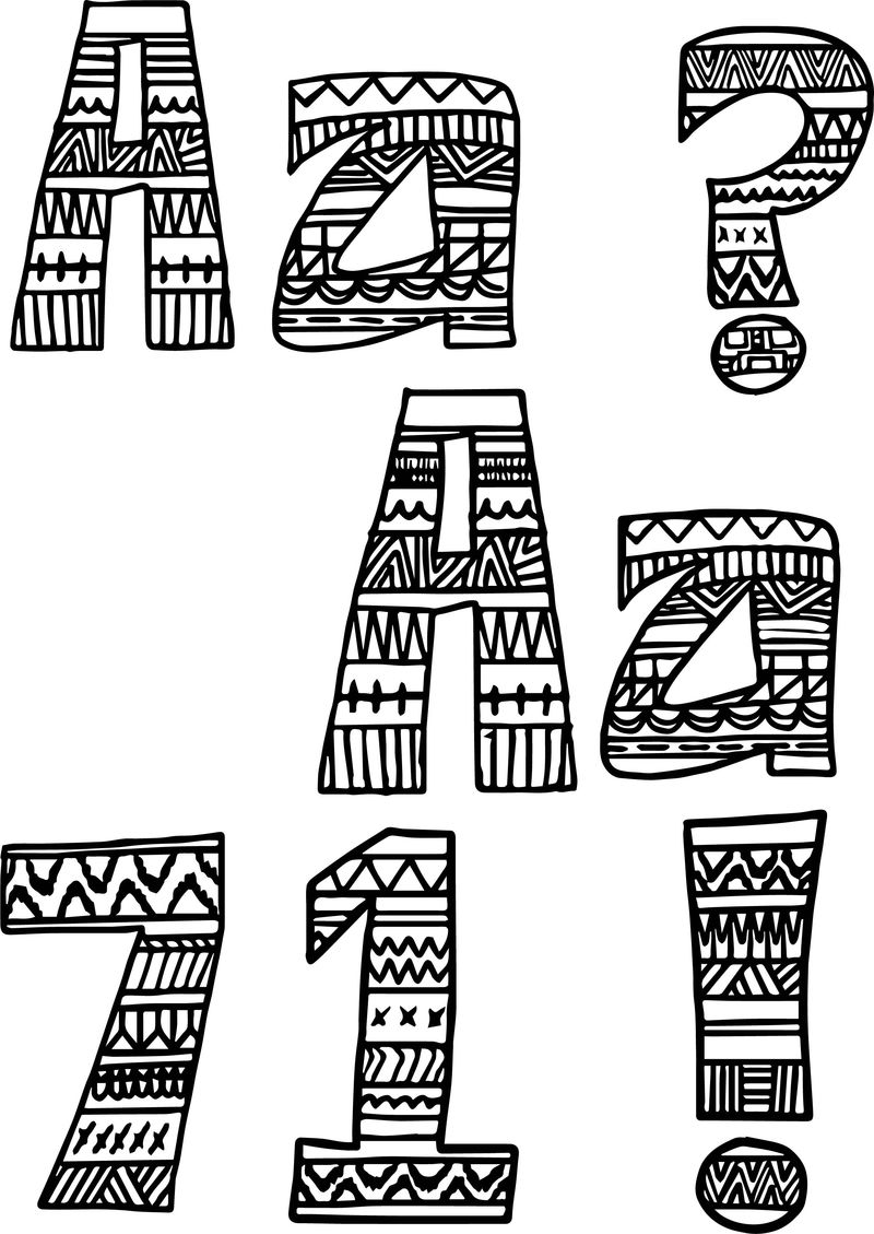 Aztec Numbers And Letters Sign Coloring Page