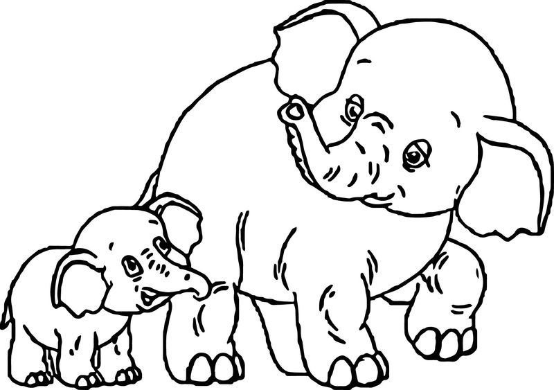 Baby And Mother Elephant Free Coloring Page