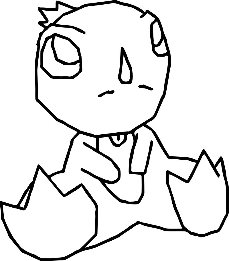 Baby Dinosaur Look Up Coloring Page