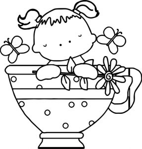 Baby girl tea cup butterfly coloring page