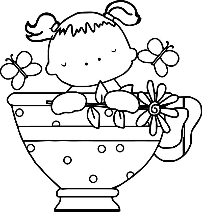 Baby Girl Tea Cup Butterfly Coloring Page Coloring Sheets