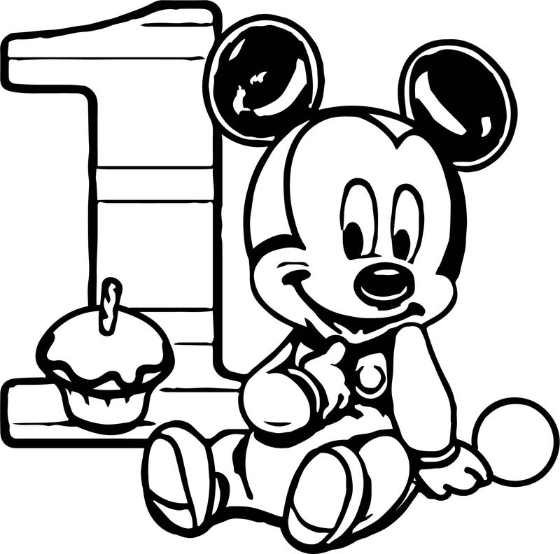 Baby Mickey One Cupcake Birthday Coloring Page