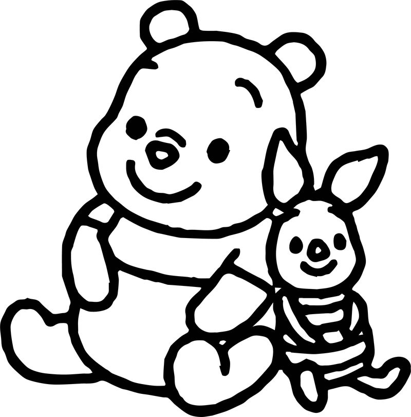 Baby Piglet Bold Line Coloring Page