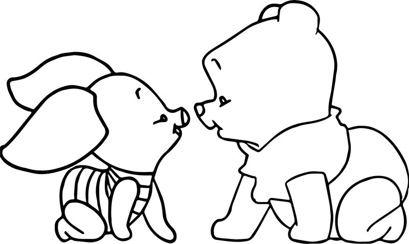 Baby Piglet Winnie The Pooh Crawling Coloring Page