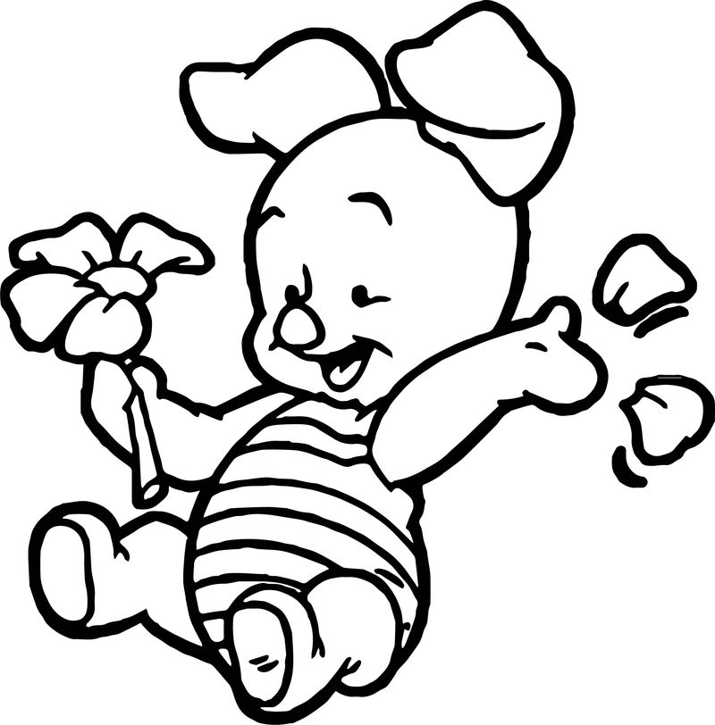 Baby Piglet Winnie The Pooh Flower Coloring Page