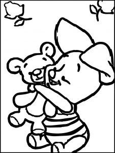 Baby piglet winnie the pooh toy hug coloring page