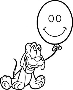 Baby pluto smile balloon coloring page