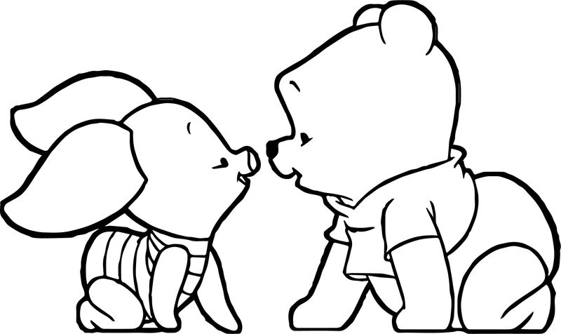 Baby Pooh Piglet Coloring Page