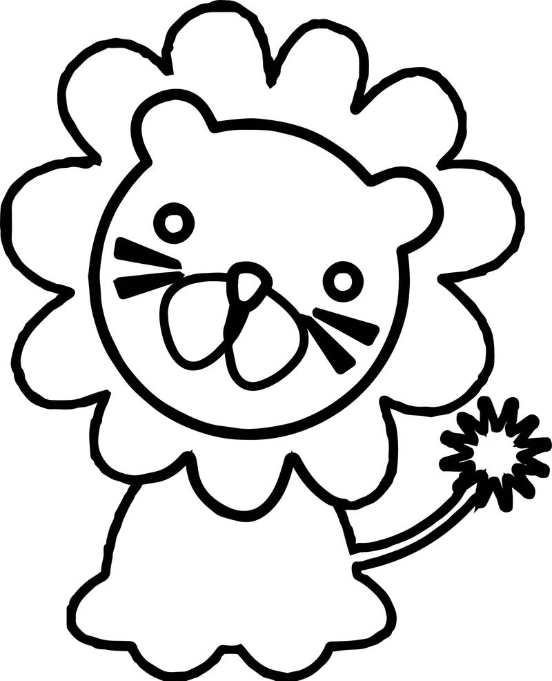 Baby Zoo Lion Animals Coloring Page